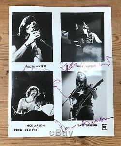 Pink Floyd Signed Photo Autographed David Gilmour, Nick Mason, Rick Wright COA