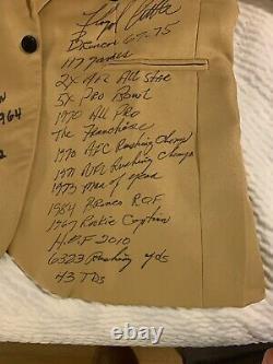 Rare Floyd Little Lenny Moore SIGNED STAT Gold Jacket 29 INSCRIPTIONS JSA