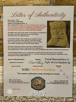 Rare! Floyd Mayweather Jr Signed Auto Boxing Fight Worn L Hand Wrap Jsa Wbc Loa