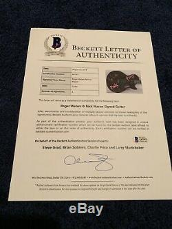Roger Waters + Nick Mason On The Body Signed Electric Guitar Beckett Pink Floyd