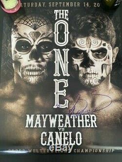 Saul Canelo Alvarez autographed fight poster vs Floyd Mayweather 2013