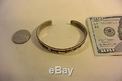 Signed FLOYD BECENTI Navajo BRACELET Story Teller Sterling Silver with12K GOLD