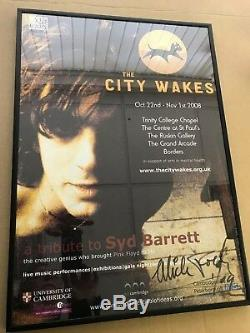 The City Wakes Syd Barrett Pink Floyd framed poster signed by Mick Rock