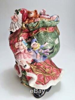 Vintage 1995 Fitz Floyd Santa Centerpiece Christmas Vase Planter Signed