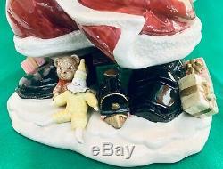 Vintage Fitz & Floyd Old World Santa Centerpiece Vase Christmas Rare 16 Signed