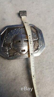 Vintage Floyd Becenti Jr. Sterling Silver Kachina Signed Belt Buckle BCT