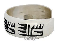 Women's Hopi Signed Floyd Namingha Museum. 925 Sterling Silver Cuff Bracelet