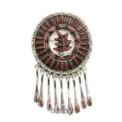 Zuni Handmade Sterling Silver Coral Needlepoint Pendant/Pin Floyd Etsate